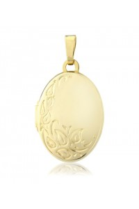 9ct Gold 13x18mm Oval Embossed Locket LK210